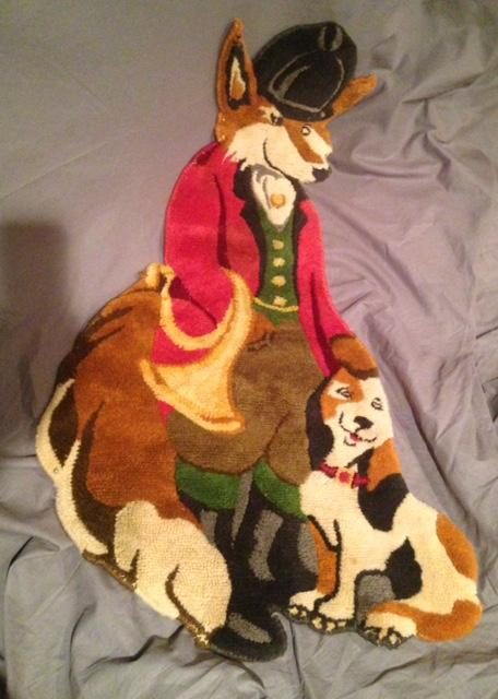Rug - Master Fox with His Hound - Wool - Vintage