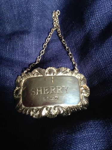 Hang Tag Sterling Silver English Sherry