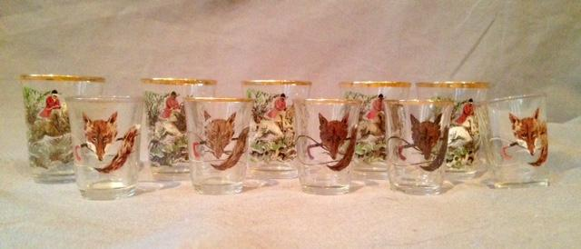 Shot Glasses  Fox Hunt Motif Vintage