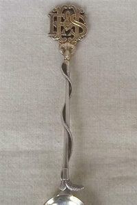 Spoon Sugar Sterling Silver and Gilt English Provenance Fox Mask and Hunt Whip Form