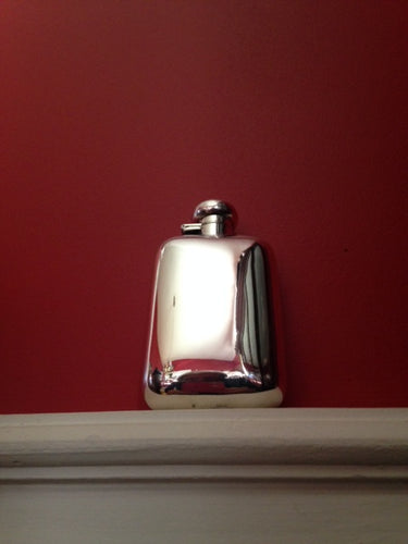 edwardian antique hip flask sterling hallmarked england bayonet cap