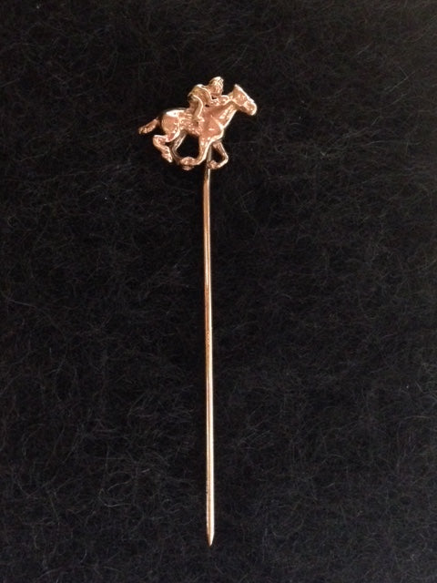 Pin - Stick Pin - 14 KT Yellow Gold Stick Pin of a Jockey on Racing Horse
