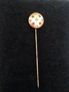 Stick Pin or Hat Pin 14 kt Yellow Gold with Diamonds and Rubies