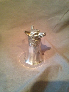 Stirrup Cup - Fox Form - Silver Plate - Engraved