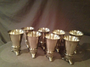 Stirrup Cups -  Fox Heads - Set of Eight - Silver Plate - Vintage