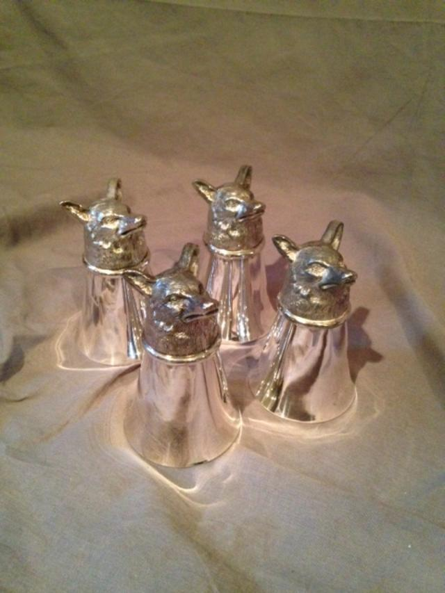 Stirrup Cup Fox Head Bases -  Leonard Silver Company - Set of Four