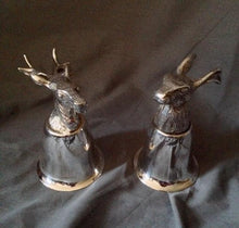 Stirrup Cups in Stag and Hare Form - Silver Over Brass