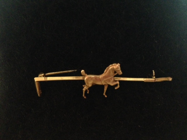 Pin - Stockpin - Signed Sloan & Co. - Est. 1895 - 14kt Gold Prancing Horse - Hunt Whip Form