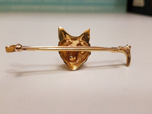 Stock Pin Fox Mask on Hunt Whip Form 14 kt Yellow Gold and Diamonds