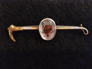 Pin - Stock Pin -  Heavy 14kt Yellow and White Gold Reverse Intaglio Fox Mask on Hunt Whip Stock Pin