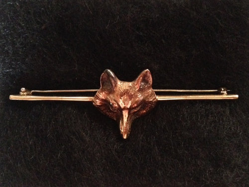 Stock or Bar Pin 14 kt Yellow Gold Fox Mask Embellishment of Known Provenance