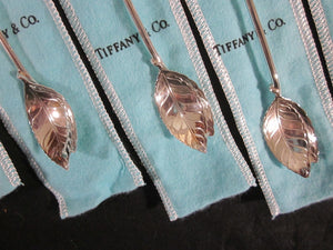 Tiffany - Faneuil by Tiffany - Sterling Silver Sipper Spoons - Leaf Design - Collection of Six