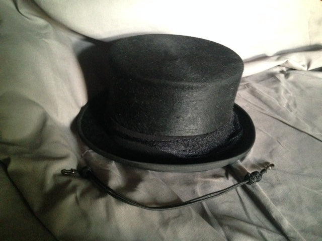 Top Hat  with Veil and Black Cord and Hard Carrier