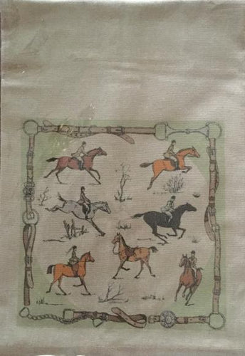 Towel Cotton Oatmeal Color with Vignette of Fox Hunting