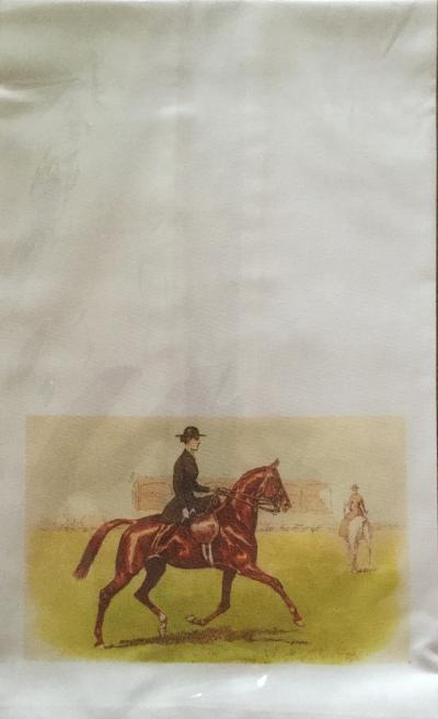 Towel Cotton Decorated with Sidesaddle Dressage Rider