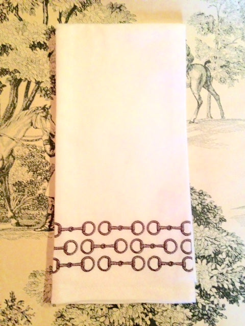 Kitchen Cotton Towels Embroidered Cocoa Snaffle Bits set of 2