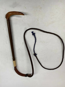 Whip Gentleman's Vintage Leather and Horn With Thong and Popper