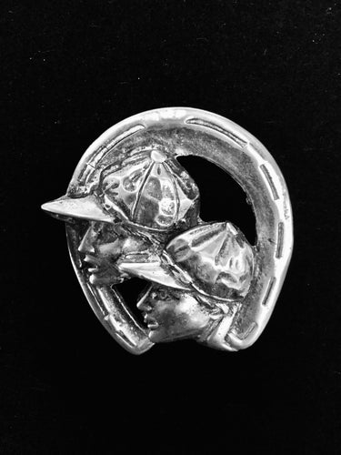 Brooch Sterling Silver Dual Jockey Profiles Within a Horse Shoe