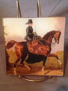 Tray - Sidesaddle - Glass - Decoupage