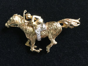 Brooch 14kt Yellow and White Gold and Diamonds and Sapphire in Race Horse and Jockey Form