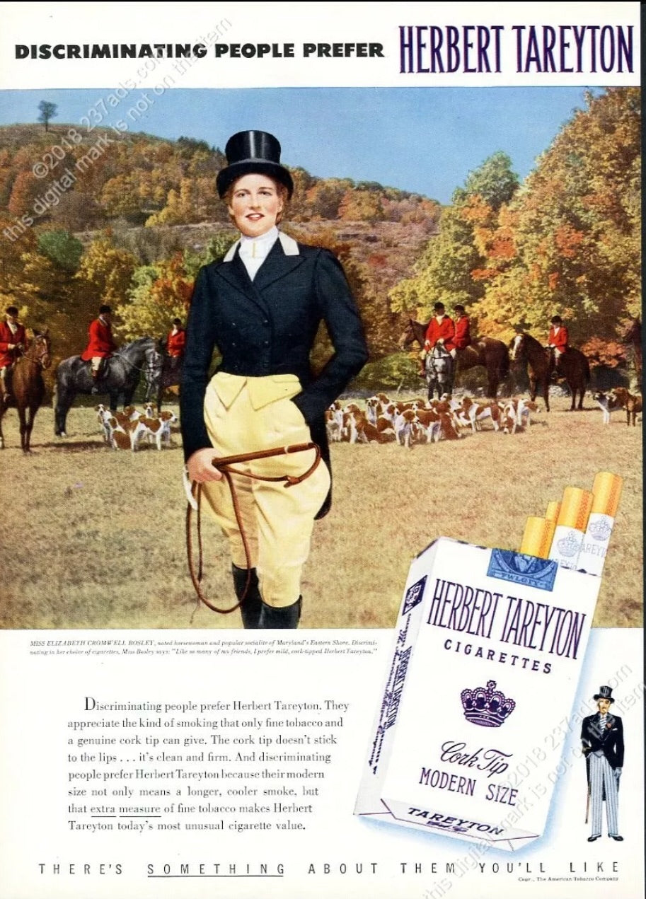 Poster Vintage 1953 Ad with Fox Hunting Motif