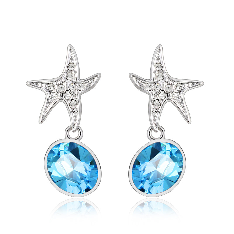 Starfish Earrings Blue Sw Elements