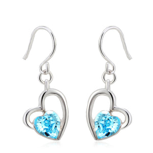 Heart Earring with Blue SW Elements