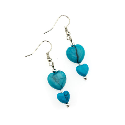 Turquoise Howlite Double Heart Earring