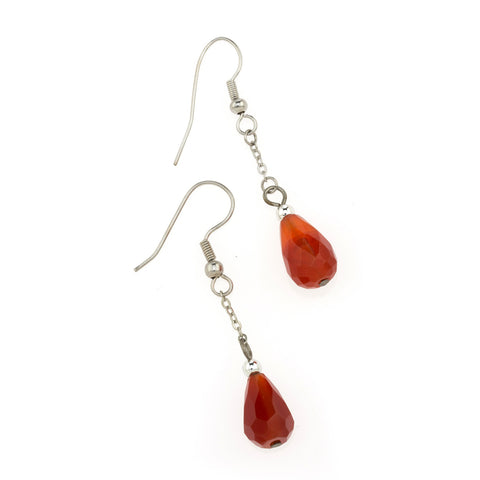Carnelian Faceted Tear Earring