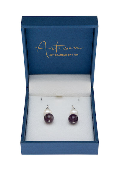 Pearl and Amethyst Drop Earring
