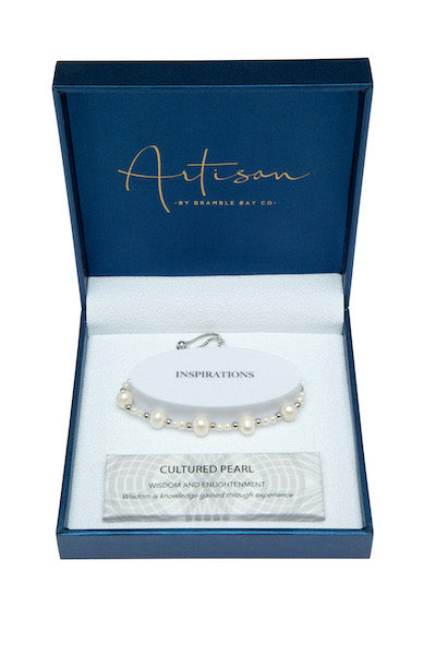 White Pearl Adjustable Bracelet (3-7mm bead)