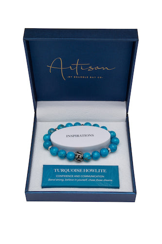 Turquoise Howlite Stainless Leaf Charm 10mm Bracelet