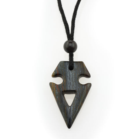 Tiger Iron Tribal Arrow Pendant