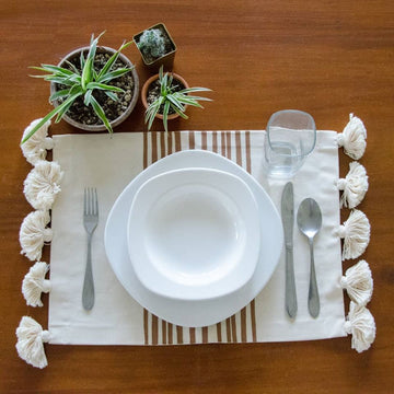 HAND PAINTED BLUE STRIPE PLACEMAT