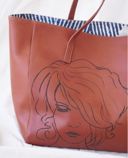 LEATHER ART TOTE BAG