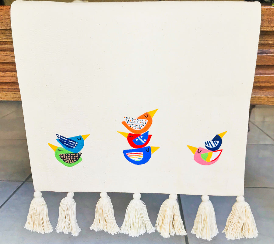 Hand Painted Table Runner- Birds