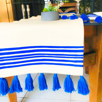 Blue Stripes Hand- Painted Table Runner