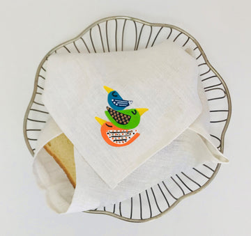 Multipurpose Hand Painted Linen Napkin - Bread Napkin - Bath Towel