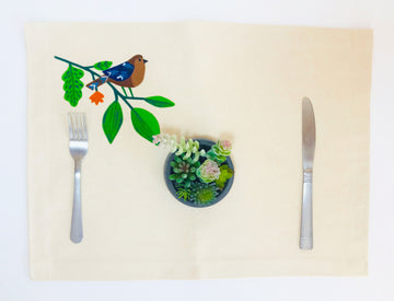 Hand Painted Placemat - Brown Bird