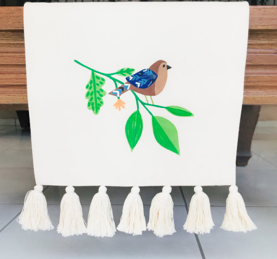 Hand Painted Table Runner - Brown Bird