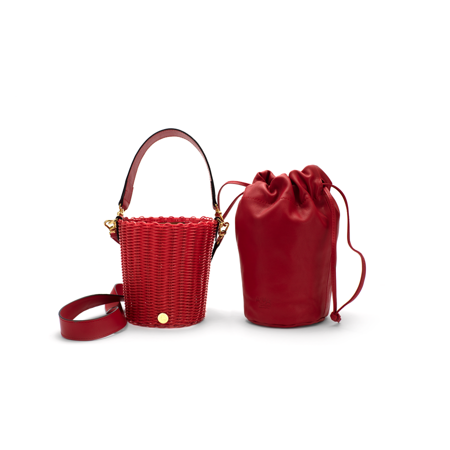 WOVEN LEATHER BUCKET - RED/RED