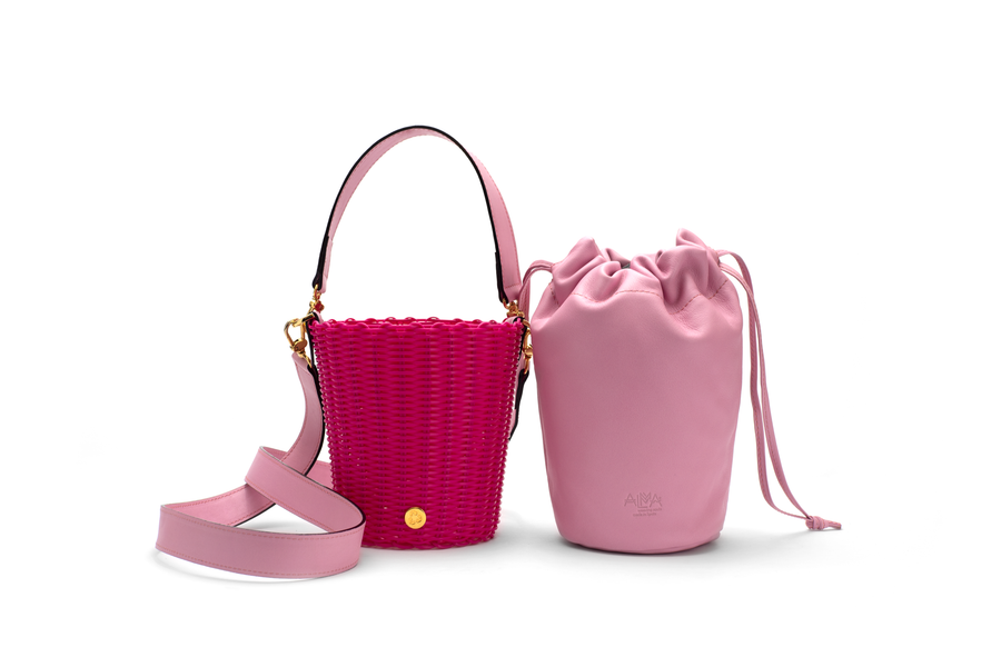 WOVEN LEATHER BUCKET - FUCSIA/PINK