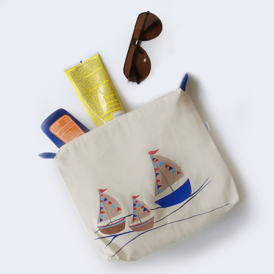 HAND PAINTED SAIL BOAT COSMETIC BAG