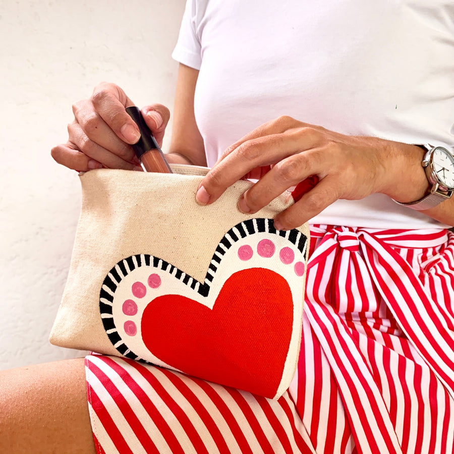 HAND PAINTED HEART COSMETIC BAG