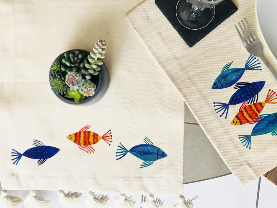 Hand Painted Table Runner - Fish