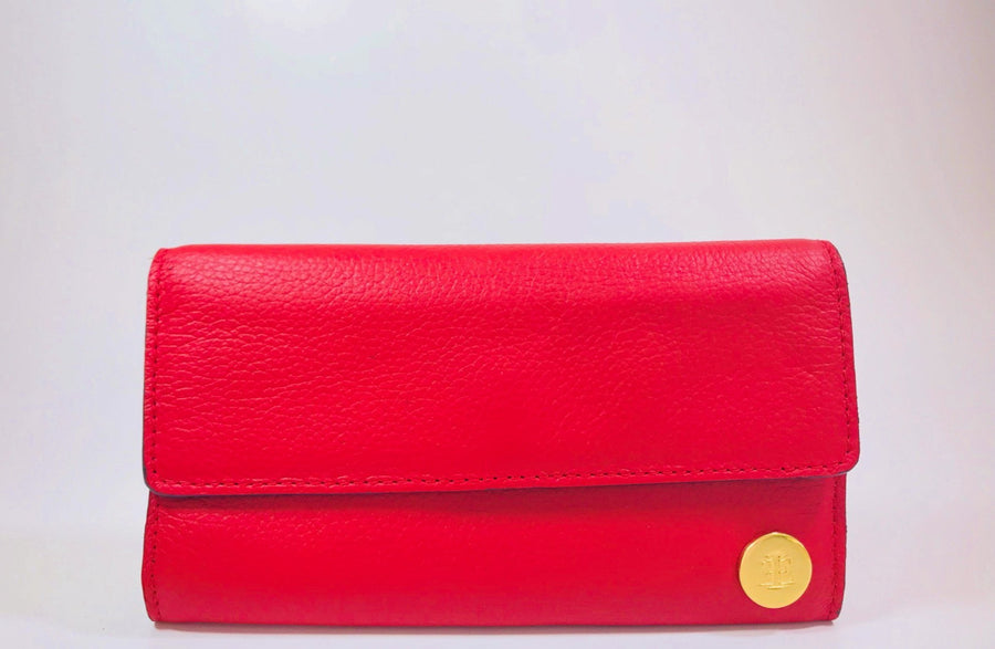 Red handcrafted leather big wallet