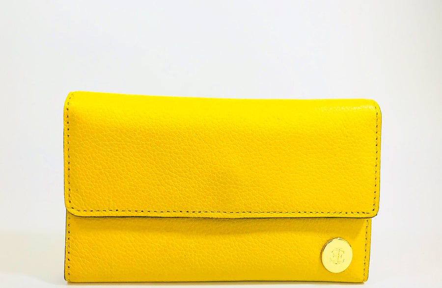 Yellow handcrafted leather big wallet