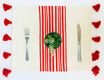 Hand Painted Red Stripe placemat