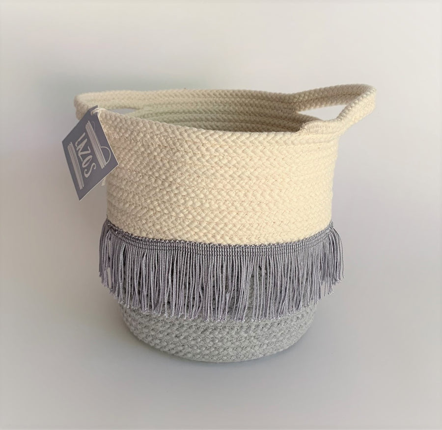 SMALL COTTON BASKET WITH FRINGE