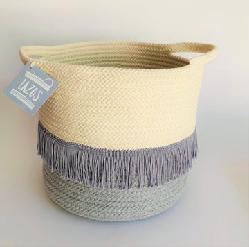 MEDIUM COTTON BASKET WITH FRINGE